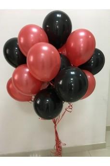 Красно-черное облако из 29 гелиевых шаров
