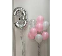 Набор шариков на празднование 3 лет девочки