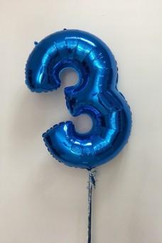 Синяя фольгированная цифра 3
