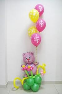 Мишка на клумбе на рождение дочки