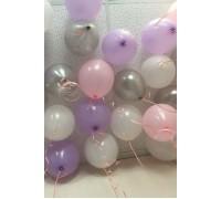 Шары под потолок сиреневые, белые , розовые и серебряные