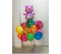 """Облако из шаров """"С днем рождения с розовым мишкой"""""""