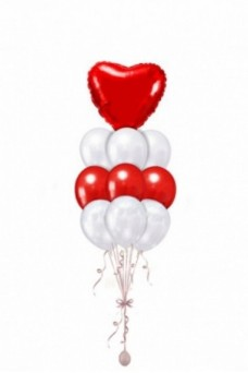 """Фонтан из шаров """"Сердца"""" бело-красный"""