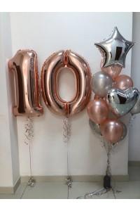 """Набор из шаров на день рождения """"Розовое золото"""""""