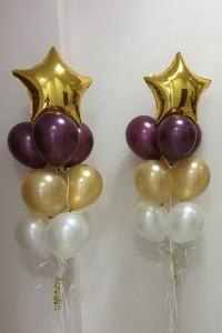 """Два фонтана из воздушных шариков """"Золотые звезды"""""""