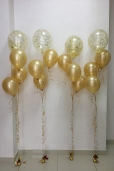 4 золотых фонтана из шаров