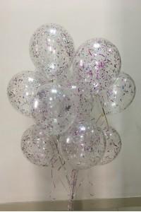 11 гелиевых шаров с конфетти