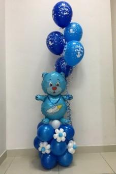 Фольгированный медведь  с шариками