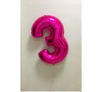 Фольгированная цифра 3 малинового цвета