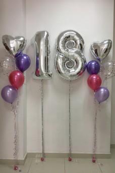 Композиция из шаров на День рождения 18 лет