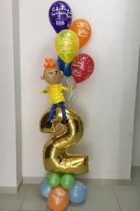 "Композиция ""Мальчик с шариками на цифре 2"""