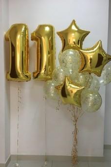 Цифры и фонтан из шаров на 11 лет