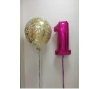 Большой шар с конфетти  и фольгированная цифра