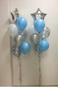 """2 фонтана  из шаров """"Серебряно-голубой"""""""
